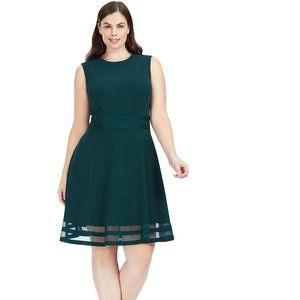 Mesh Hem Green Fit And Flare Dress